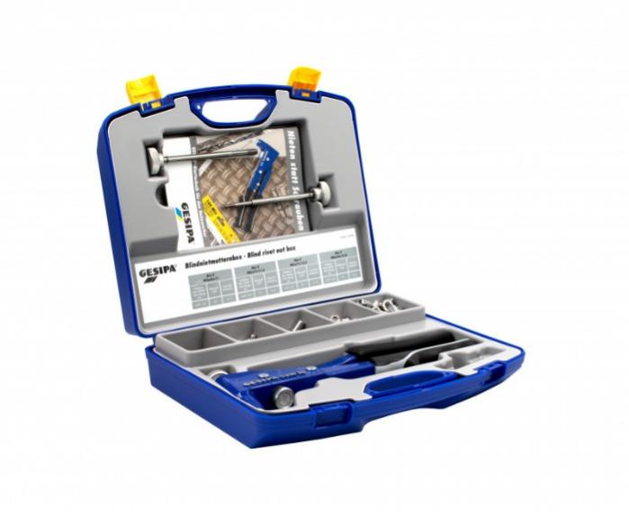 Blind rivet nut box (Blind rivet nut hand tools) - GBM 10 with threaded mandrel and nosepiece M5