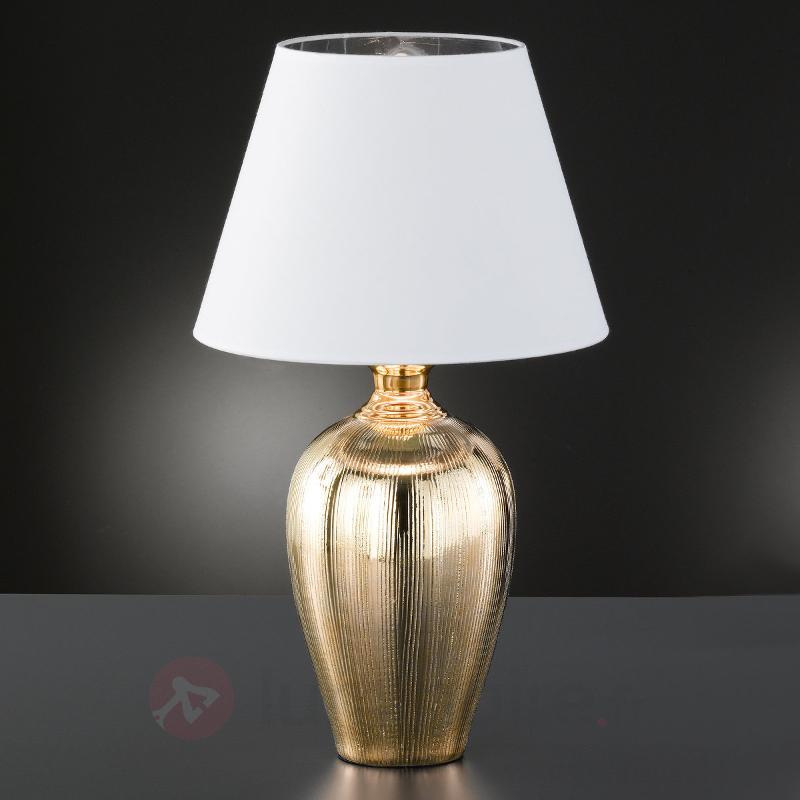 Lampe à poser brillante Belly, pied céramique doré - Lampes à poser en tissu