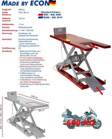 Hebebühne ECON EH 600 Max Rot/ Blau für Zweiräder - null