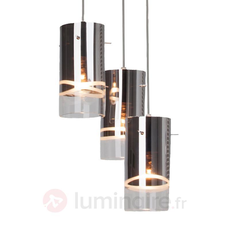 Suspension ronde Carlow chromée à 3 lampes - Cuisine et salle à manger