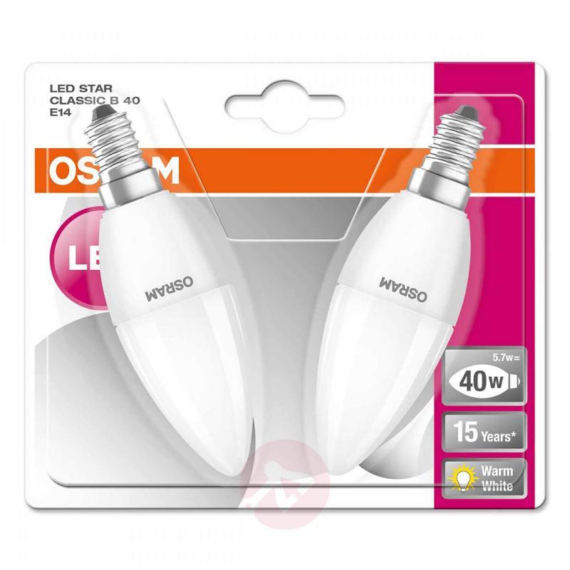 E14 5.7 W 827 LED candle bulb, matt, set of 2 - light-bulbs