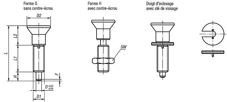 Doigt d'indexage sans collerette avec doigt allongé - Doigt d'indexage à corps lisse