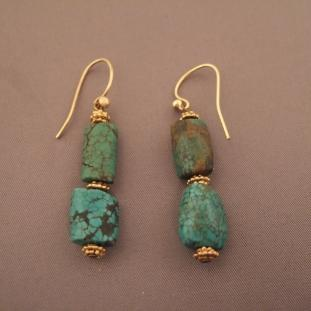 Boucles d'oreilles - Or20ct, turquoises, Inde