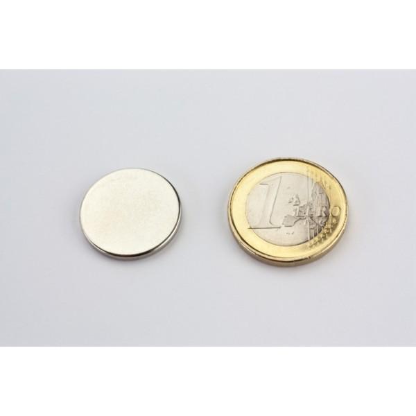 Neodymium disc magnet 20x2mm, N45, Ni-Cu-Ni, Nickel coated - Disc