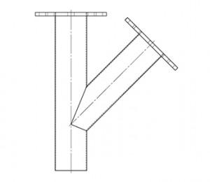 Branch pipe with flange - null