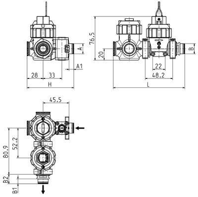 Modular urinal valve unit, DN 7 - 52.007.2xx