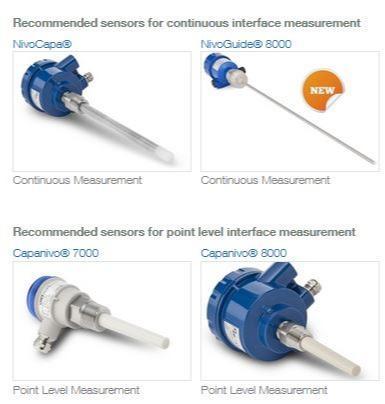 Medição Interface em camadas de líquidos - Sensores recomendados para medição Interface contínua ou medição pontual