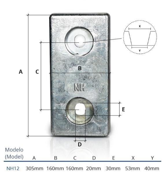 Ânodo de zinco para protecção catódica - Ânodos de aparafusar NH12