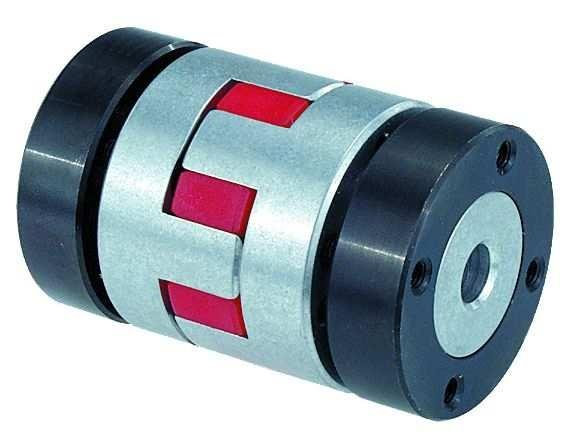 Elastomer dog couplings with conical hub and clamping ring