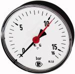 Standard pressure gauge, rear centric, G 1/4, 0 - 25... - Standard pressure gauge, connection on rear, centrical