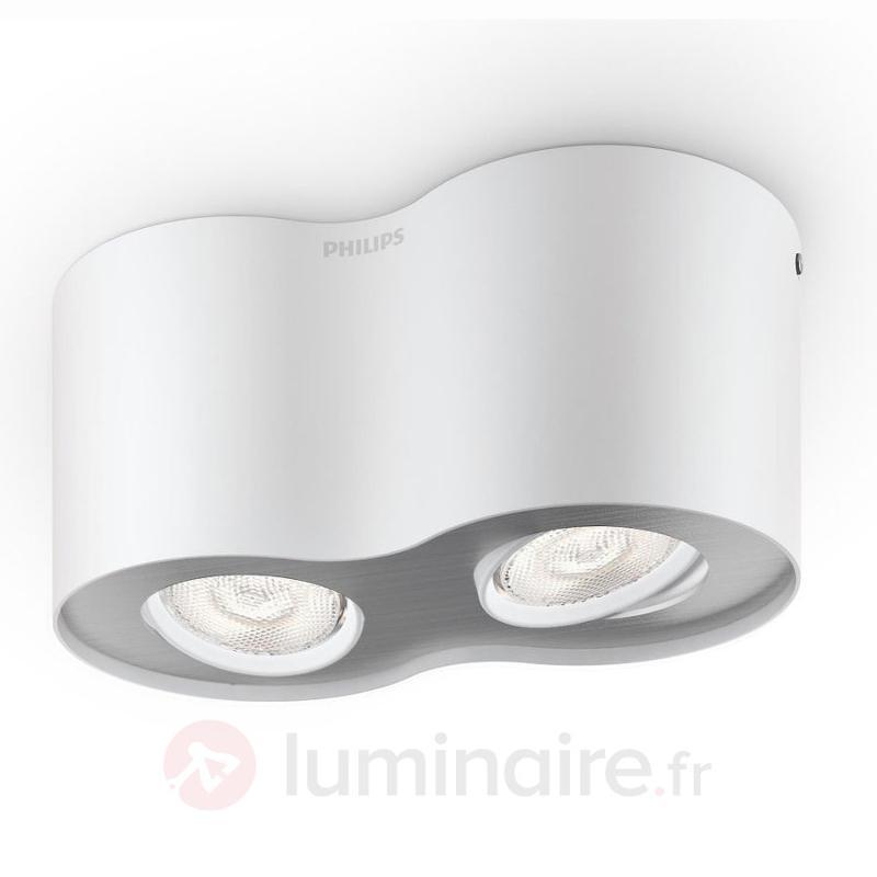Spot LED Phase blanc à deux lampes - Plafonniers LED