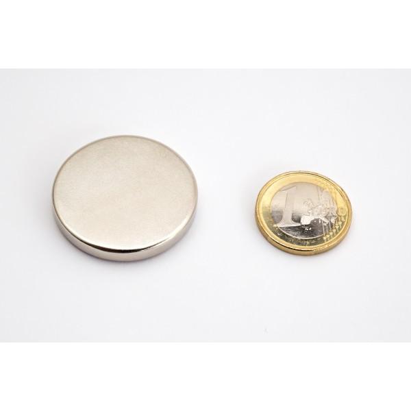 Neodymium disc magnet 35x5mm, N45, Ni-Cu-Ni, Nickel coated - Disc
