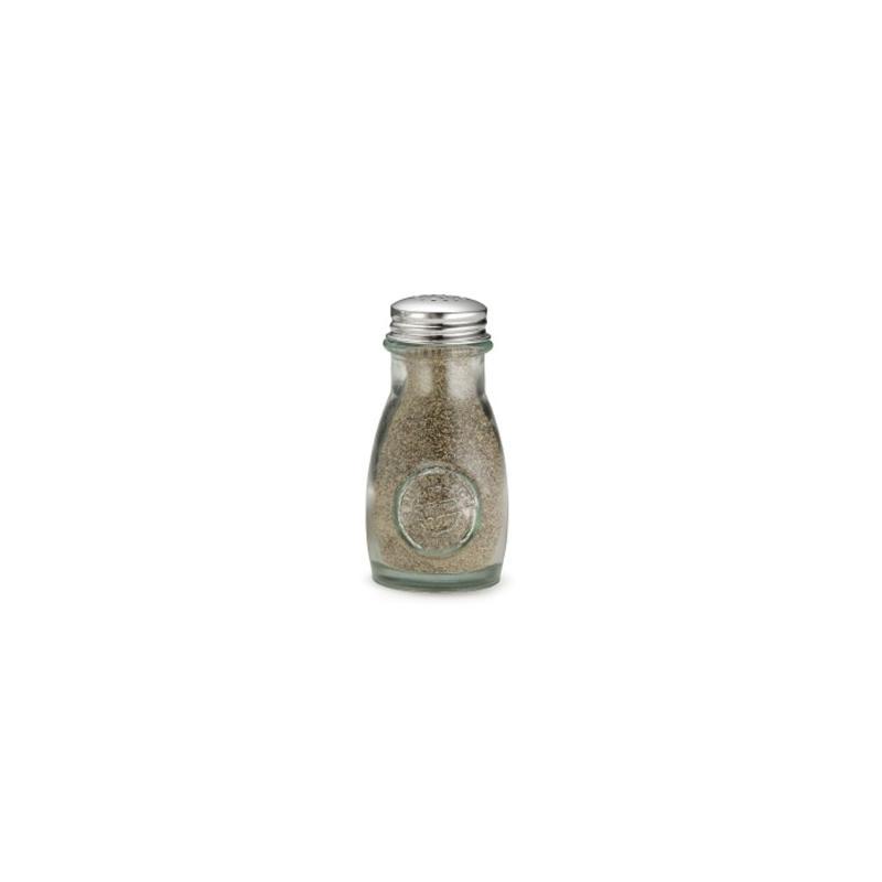 Salière et Poivrier en verre recyclé avec couvercle troué en inox - Vaisselle de Table