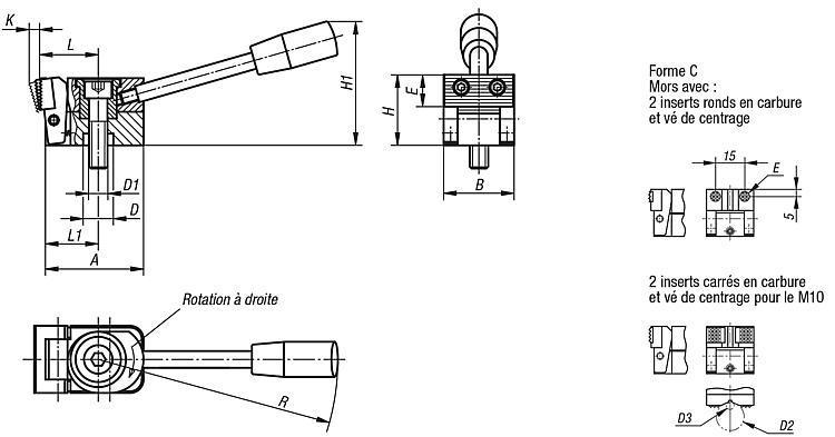 Crampon plaqueur à came - Crampons, mors de serrage, vis et écrous de serrage