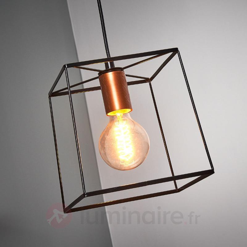 Suspension cage Agatha à une lampe - Suspensions rustiques