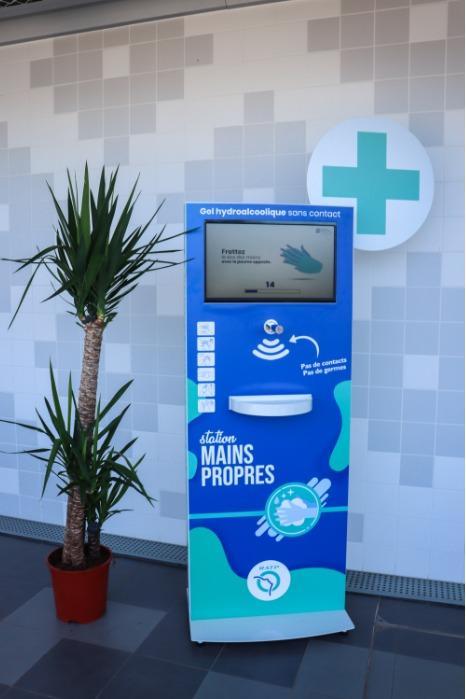 Borne de distribution de gel hydroalcoolique  - Station Mains Propres