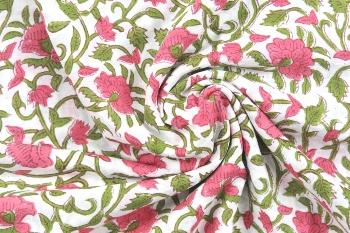 Indian Hand Block Print Pure Cotton Fabric Sanganeri Print