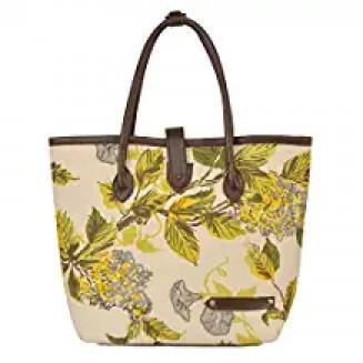 Canvas Italian Leather Large Branded Women's Handbag
