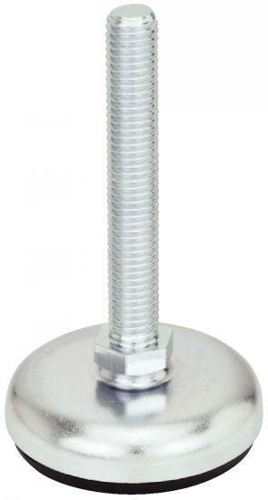 Pied - acier, à tige filetée, avec semelle collée