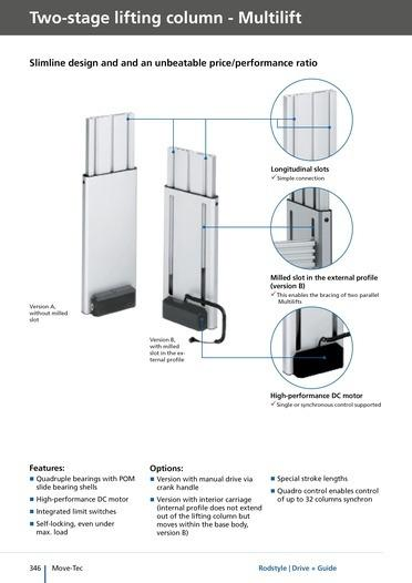 Multilift - two-stage lifting columns for up to 500 mm travel