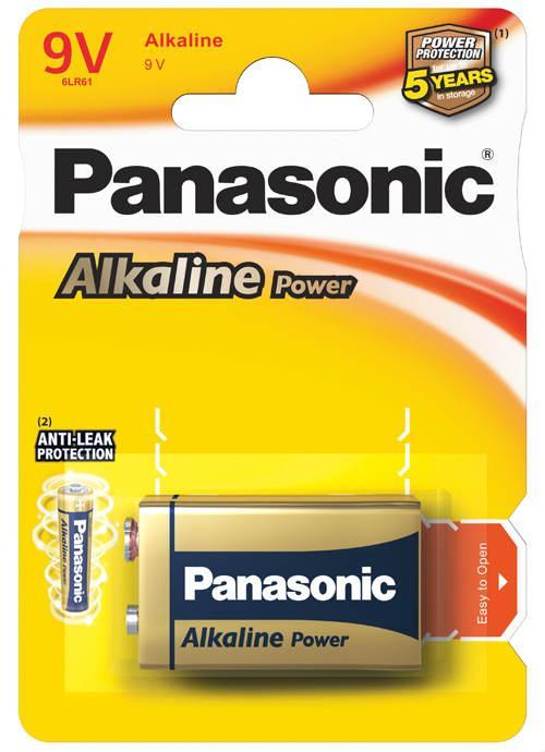 Batterie transistor 9V Alcaline Power 1 pz - 6LR61APB/1BP | Blister da 1 pila 9V Panasonic