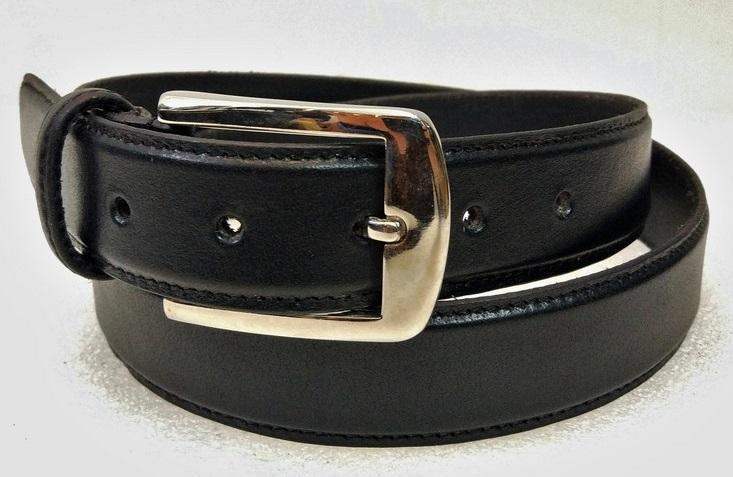 Leather Belt 08 - Black Plain Class men formal belt
