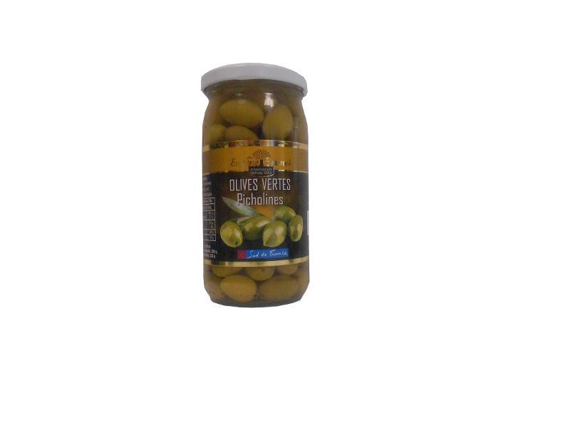 OLIVES VERTES PICHOLINE / GREEN OLIVES PICHOLINE 200G - Produits oléicoles