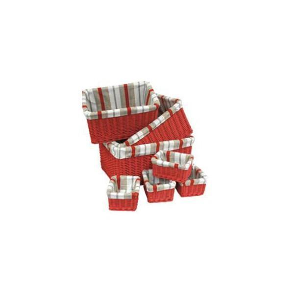 Tiroir osier teinté tissu rayé 4 tailles disponibles - null
