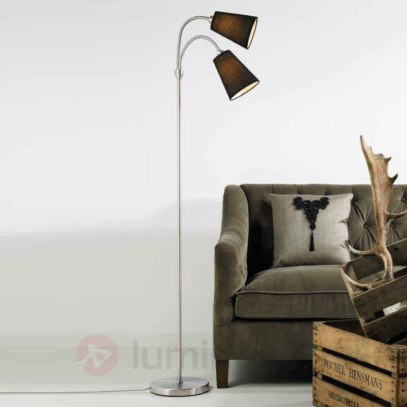 Lampadaire LELIO à 2 lampes avec bras flexibles - Lampadaires en tissu