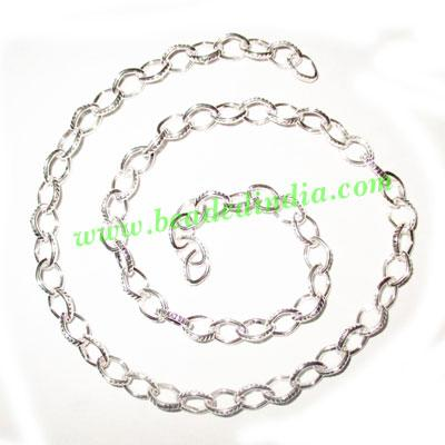 Silver Plated Metal Chain, size: 1x6mm, approx 34.6 meters i - Silver Plated Metal Chain, size: 1x6mm, approx 34.6 meters in a Kg.