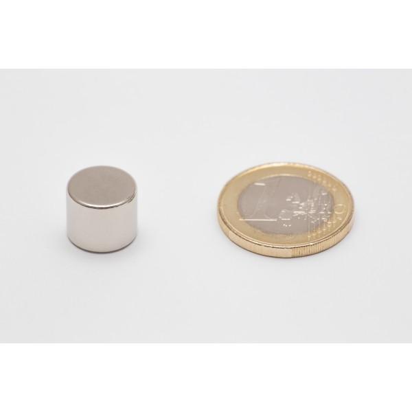 Neodymium disc magnet 12x10mm, N45, Ni-Cu-Ni, Nickel coated - Disc