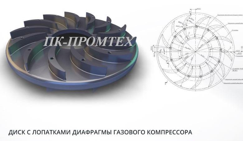 диск с лопатками газового компрессора -