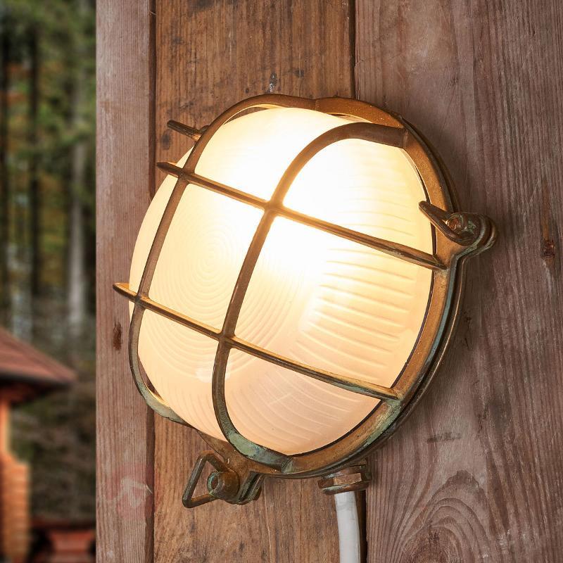 Applique d'extérieur ronde Bengt laiton antique - Appliques d'extérieur cuivre/laiton