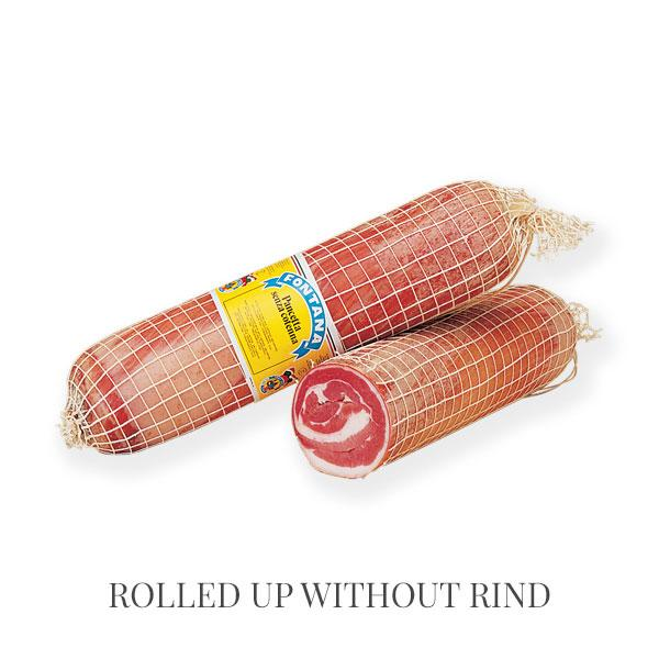 Rolled up Pancetta - pancetta and lard