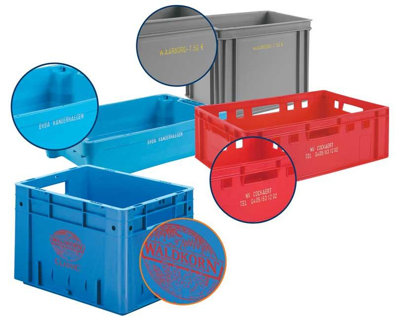 Customization of crates - Hot stamp or silk screen printing of company name
