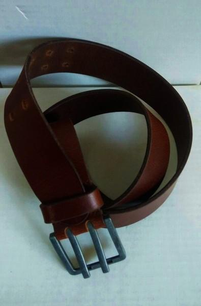 Double Pin Men Grain belt - Waxy pull Drak Brown Double pin High quality Mens Leather belt