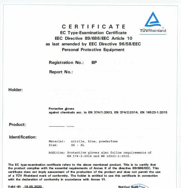 Gant nitrile Médical Non poudre gloves  AQL:1.5 - EN374-1 :2003 , EN374-2:2003, EN374-3:2003