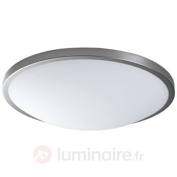 Plafonnier classique SANTOS aspect nickel mat - Plafonniers chromés/nickel/inox
