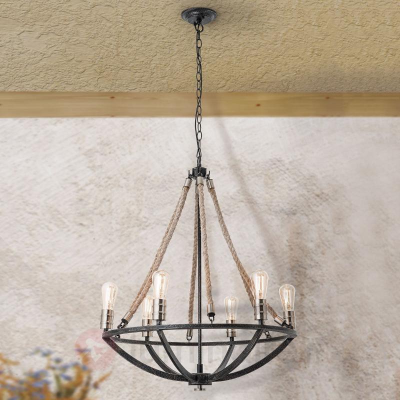 Lustre au look rétro Gita, à 6 lampes - Lustres rustiques