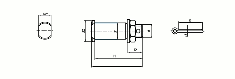 Wegde sockets - Threaded pins with counter-nut for wedge sockets acc. to DIN