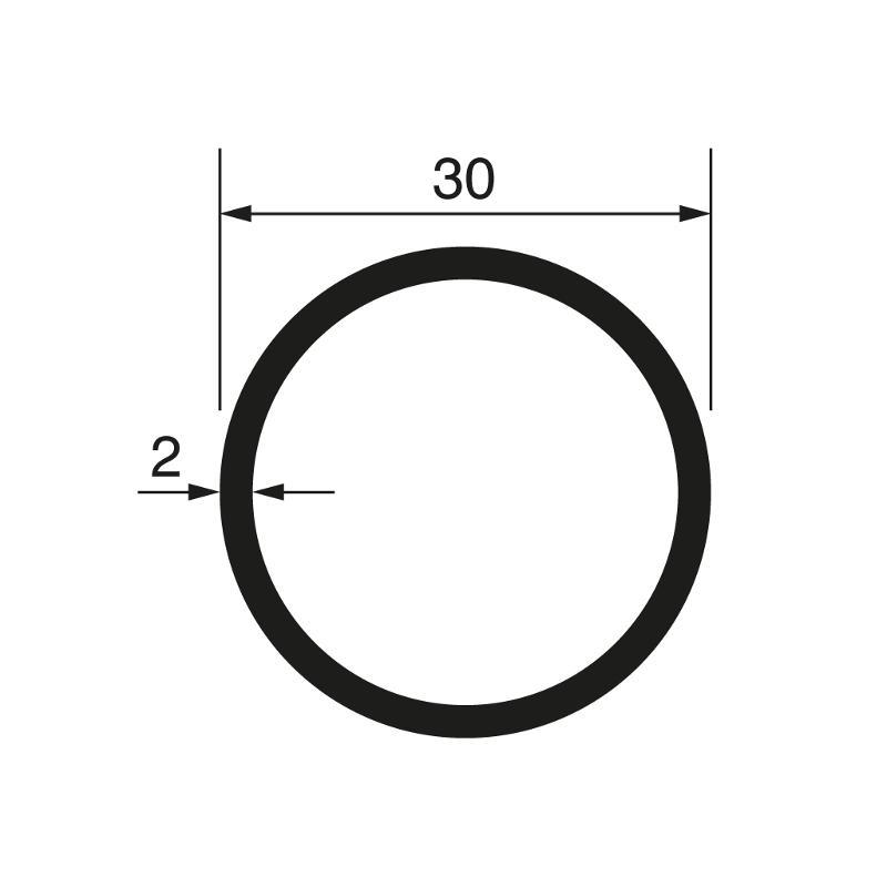 Round tube Ø 30x2 mm, anodized - Tubes