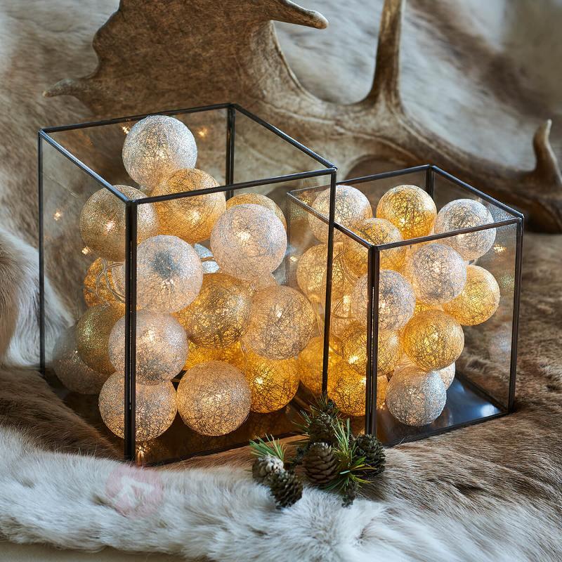 Guirlande lum. LED Bolette à boules - doré argenté - Guirlandes lumineuses LED d'intérieur