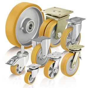 Rodas e rodízios de poliuretano - Para cargas pesadas com rasto em poliuretano fundido Blickle Extrathane®