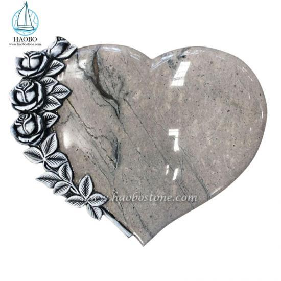 Granite Gravestone Heart Shaped With Flower Carved Monument Design Grabmale - Book And Heart