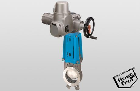Knife-gate valve WGE-EL , onedirectional - electric actuator