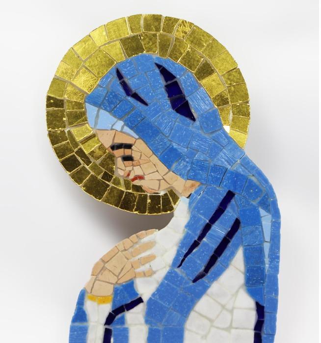 Mosaico incassabile su lapide o parete - Mosaico raffigurante l'immagine della Madonna