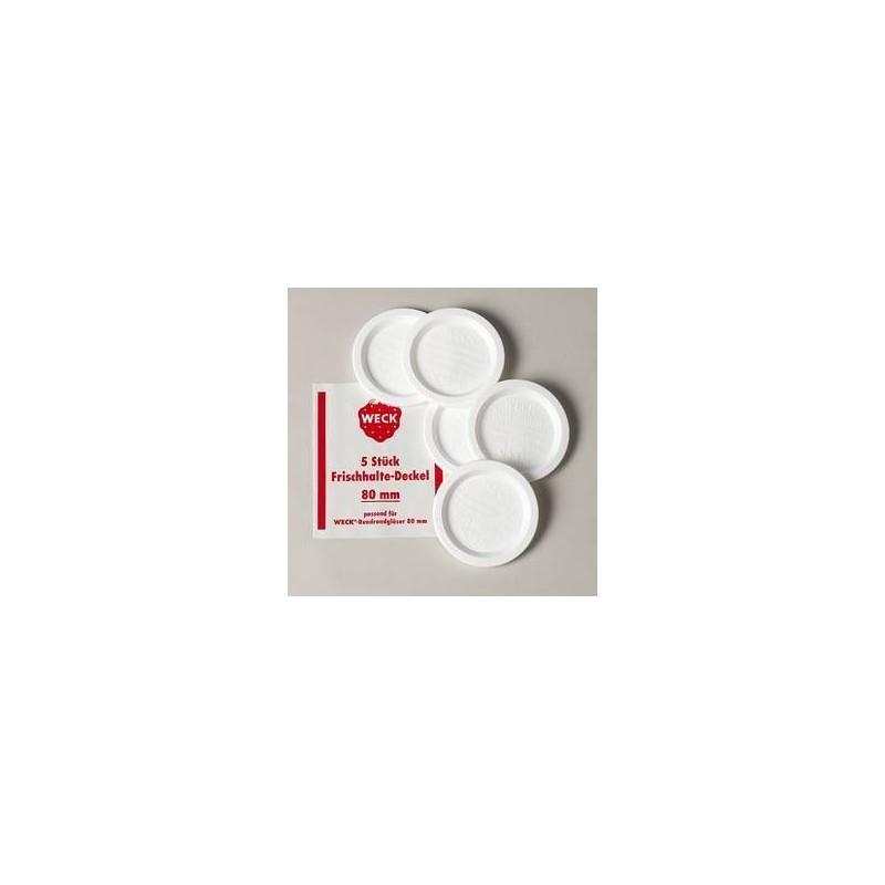 TAPAS DE CONSERVACIÓN WECK - Lote de 5 tapas de conservación en plástico Weck®, diámetro 80 mm
