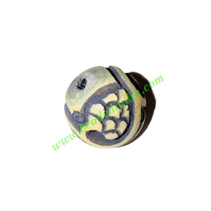 Wooden Carved Beads, size 19mm, weight approx 2.5 grams - Wooden Carved Beads, size 19mm, weight approx 2.5 grams
