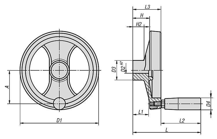 Handwheels 2-spoke Plastic, With Revolving Grip - Operating parts
