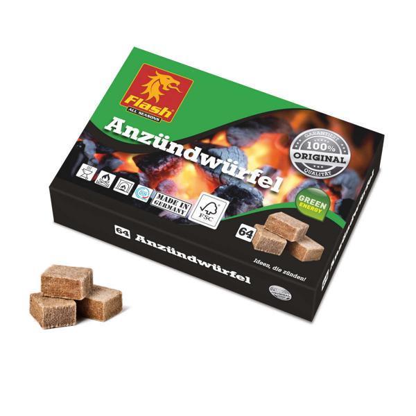 FLASH Anzündwürfel 64 Stück aus Holz & Wachs -